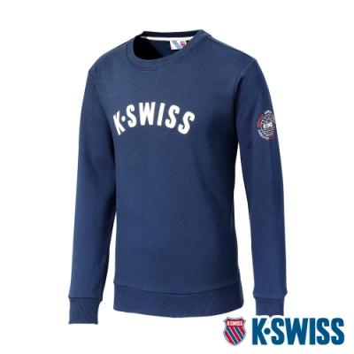 K-SWISS Curve Ks Logo Sweatshirt刷毛圓領上衣-男-藍