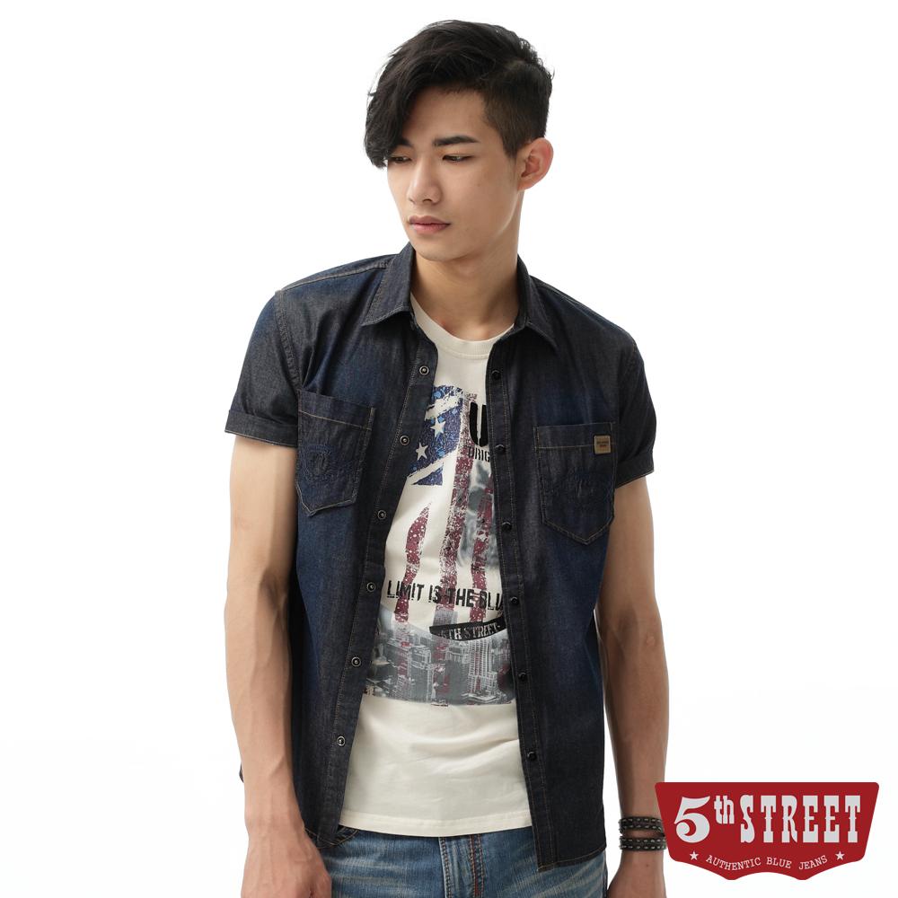 5th STREET 襯衫 粗織繡花雙袋牛仔襯衫-男-原藍色