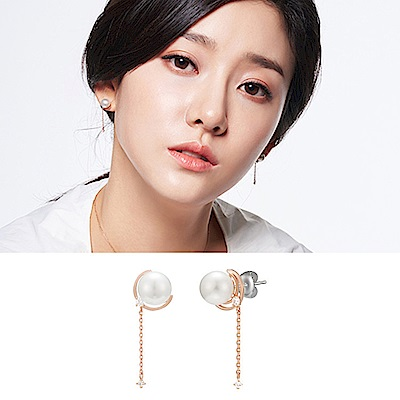 梨花HANA  韓國S925銀店長大愛圓潤珍珠串水晶耳環