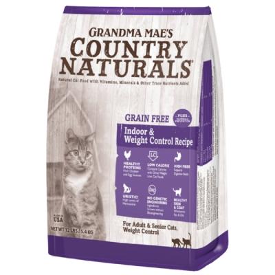 美國GRANDMA MAE S梅亞奶奶鄉村天然寵糧-室內成貓/高齡/體重控制私房無穀化毛鮮嫩雞 2.2LBS/1KG (兩包組)