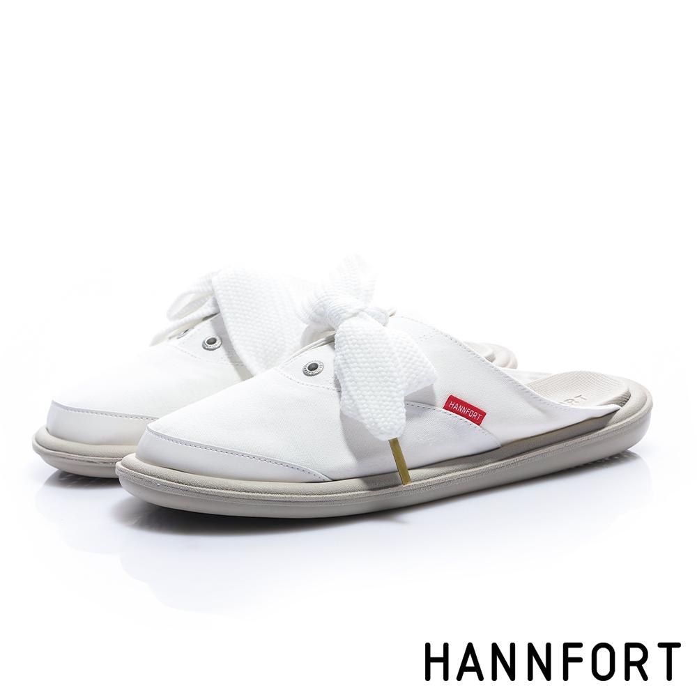 HANNFORT COZY 蝴蝶結帆布穆勒休閒鞋-女-清爽白