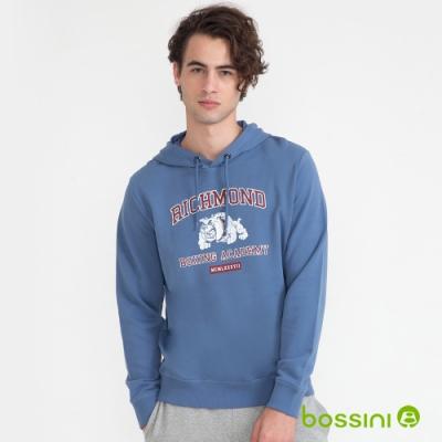 bossini男裝-圖案連帽厚棉T恤02淺藍