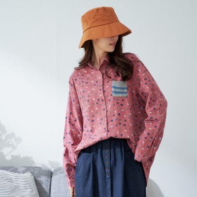 慢 生活 葉子印花刷毛長版襯衫- 粉/藍