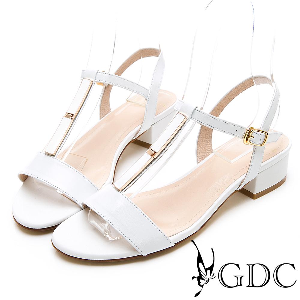 GDC-氣質簡約素色真皮T字粗跟涼鞋-白色