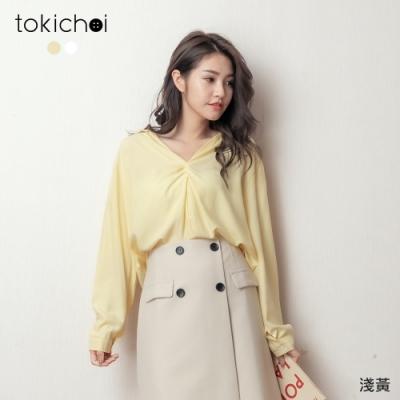 東京著衣 率性歐膩氣質造型扭結襯衫上衣(共二色)