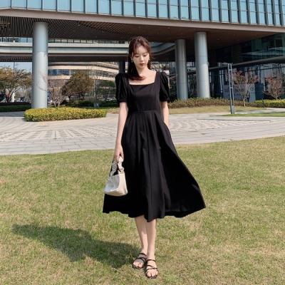 名媛雅致方領氣質修身連衣裙S-XL(共二色)-Dorri