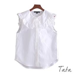 拼接荷葉領綁帶無袖上衣 TATA-(S~L)