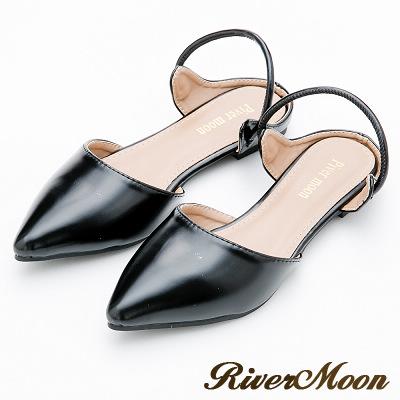 River&Moon大尺碼-復古女伶2way尖頭後拉帶平底鞋-黑