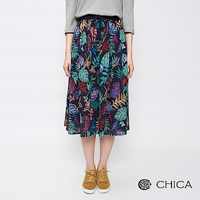 CHICA 熱情夏日雨林印花抽繩鬆緊長裙(2色)