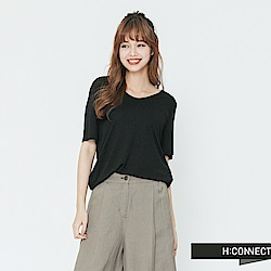 H:CONNECT 韓國品牌 女裝-小V領素面T-shirt-黑