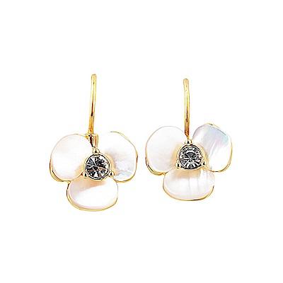 kate spade經典三色堇設計鑽鑲飾穿式耳環(金)
