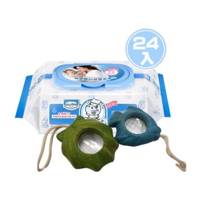 貝恩Baan NEW嬰兒保養柔濕巾80抽24入+PLAN TOYS-活動積木系列-PLANWOOD貝殼/小魚萬花筒*1