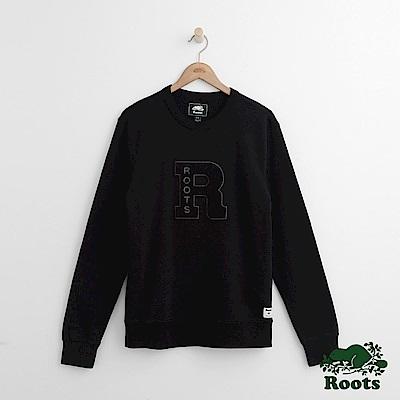 Roots 男裝-文織字標圓領上衣-黑色