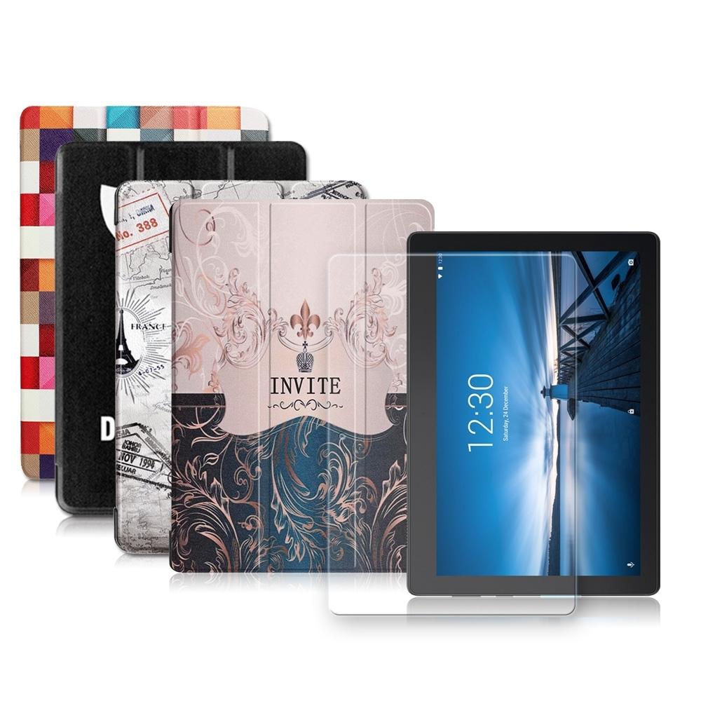 聯想Tab E10 10.1吋 文創彩繪 隱形磁力皮套+9H鋼化玻璃貼(合購價)