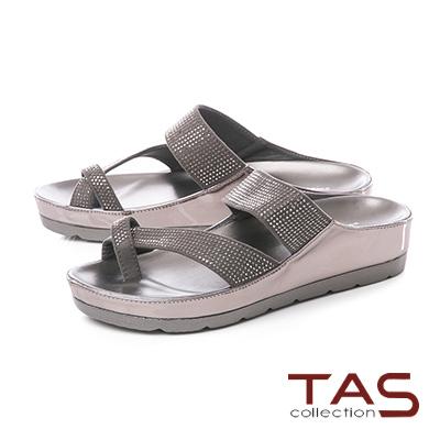TAS滿版水鑽寬繫帶拇指環厚底涼拖鞋-人氣灰