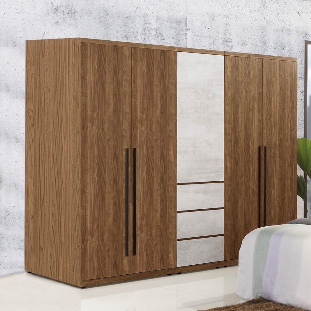 D&T 德泰傢俱 DINO清水模風格6.8尺單吊x2+三抽衣櫃 -205x57x202cm