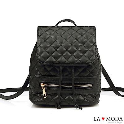 La Moda 人氣小香風菱格紋車線大容量多背法肩背斜背後背包(黑)