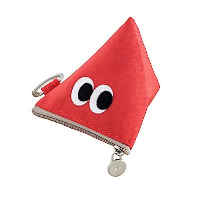 Livework SOMSOM三角耳機收納拉鏈刺繡包-紅
