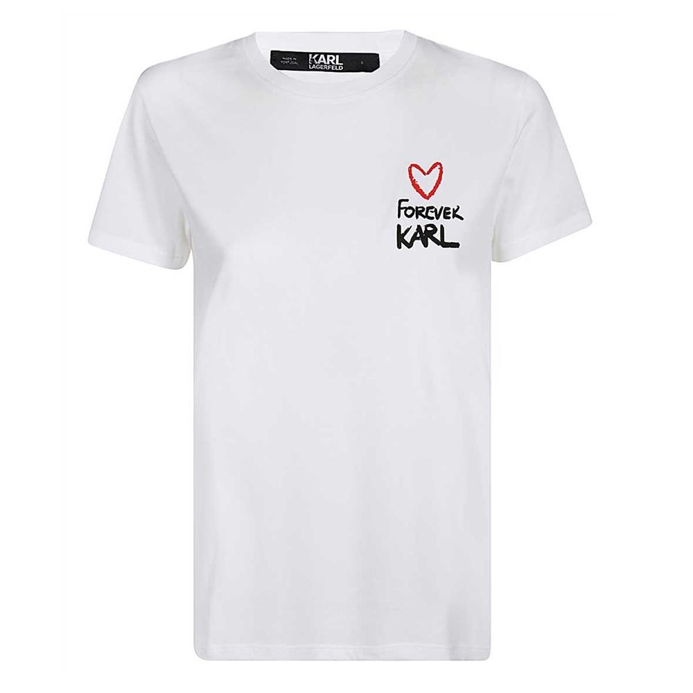 KARL LAGERFELD 卡爾愛心字母印花女款短袖棉質T恤 (白色)