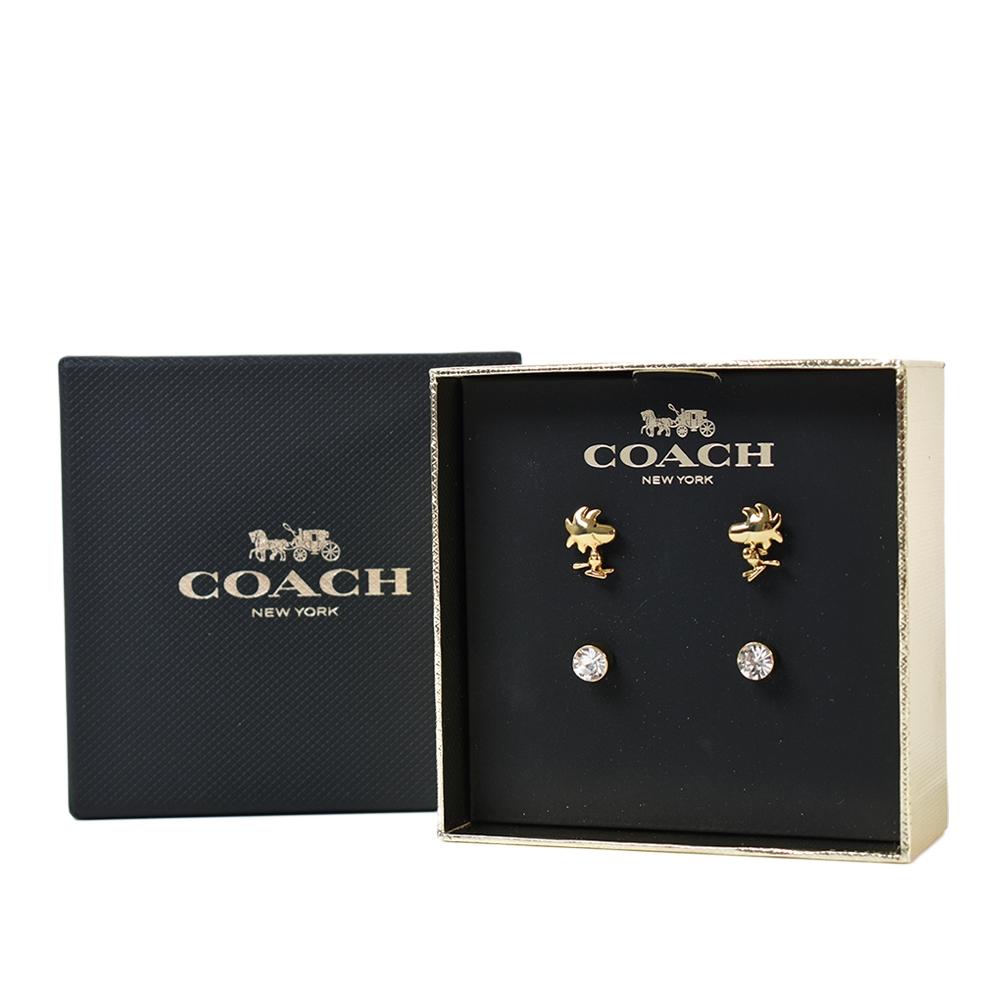 COACH SNOOPY聯名款針式耳環四件禮盒組-金色