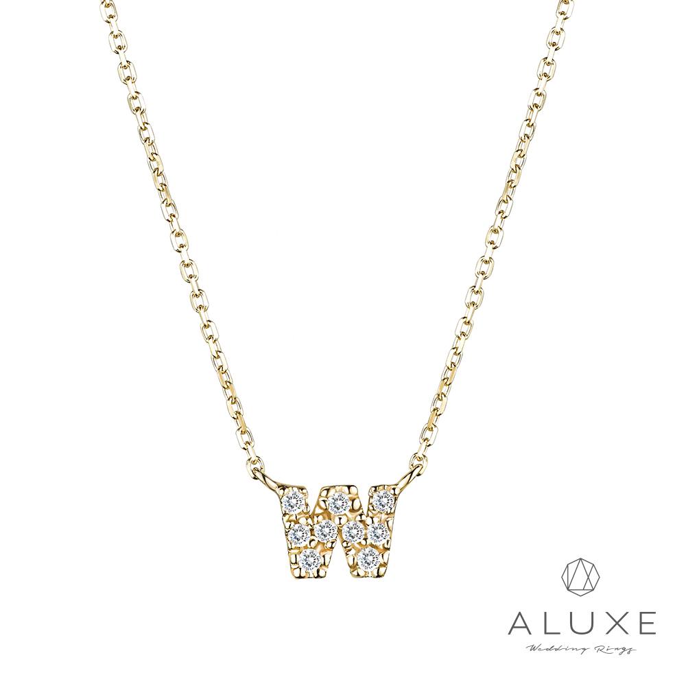 ALUXE亞立詩Alphabet系列10K鑽石項鍊-W