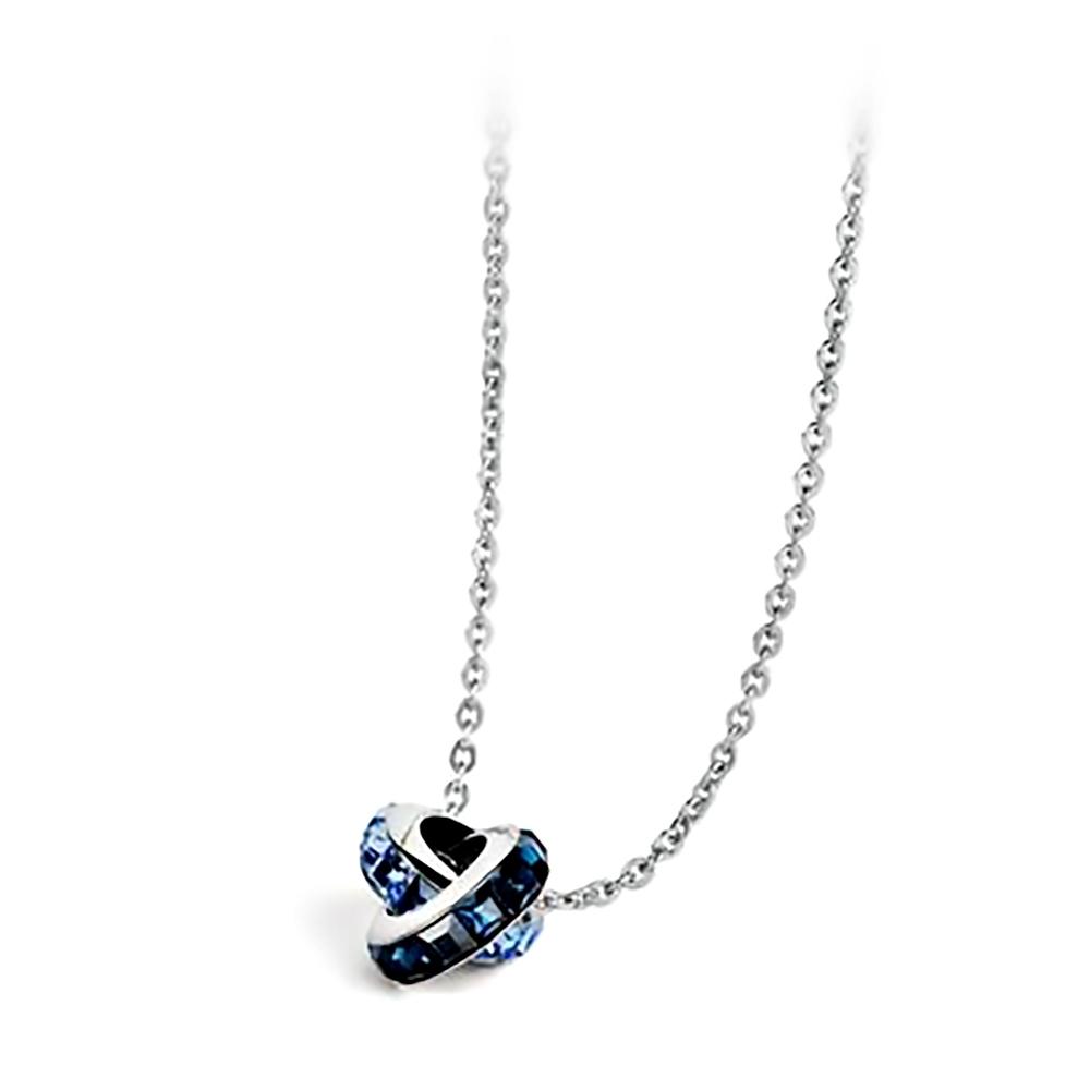 Brosway 施華洛世奇水鑽不鏽鋼項鍊 淺藍方鑽