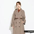H:CONNECT 韓國品牌 女裝-千鳥格雙排扣風衣外套-卡其