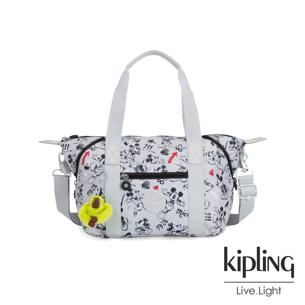 Kipling 米奇90周年限量包款系列 經典手繪黑白米奇圖騰手提側背包-ART MINI