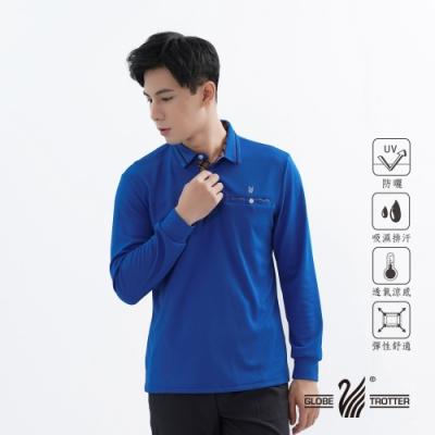 【遊遍天下】男款抗UV吸濕排汗機能POLO長衫GL1015深藍
