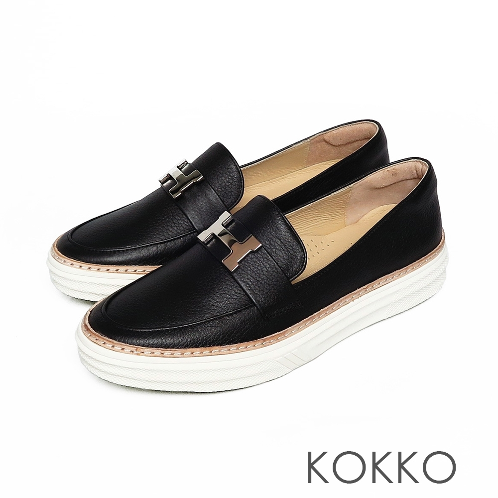 KOKKO - 極度舒適H扣真皮懶人休閒鞋 - 經典黑