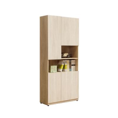 柏蒂家居-瑞莎2.5尺四門開放式書櫃/展示置物櫃/收納櫃-75x40x197cm