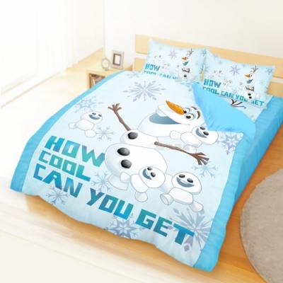 享夢城堡 雙人加大床包兩用被套四件組-冰雪奇緣FROZEN 雪寶與小雪人-藍