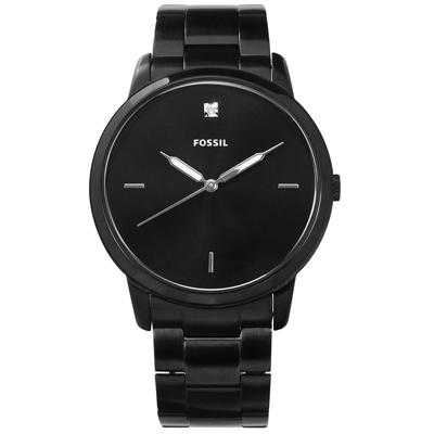 FOSSIL 復古美學真鑽刻度日本機芯不鏽鋼手錶-黑色/44mm
