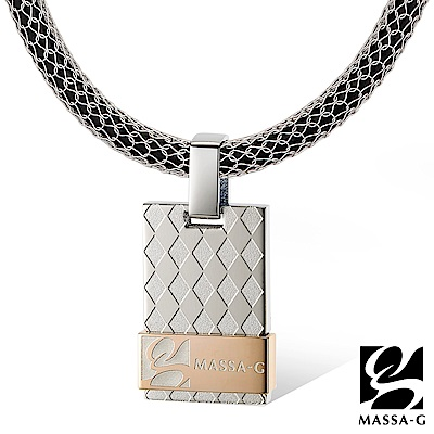 MASSA-G 玫瑰菱格純鈦墬搭配 X1 4mm超合金鍺鈦項鍊