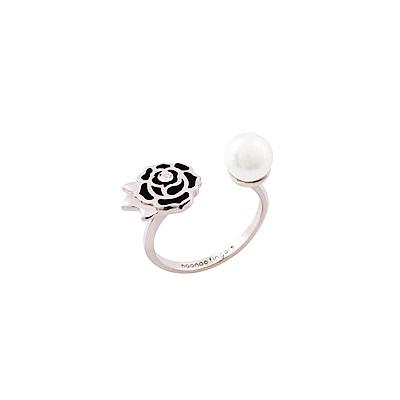 NOONOO FINGERS  925純銀鍍白金 玫瑰花 珍珠 戒指