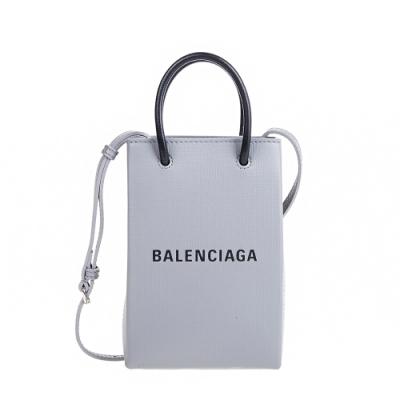 Balenciaga 新款Shopping Phone Holder 灰底黑字Logo手提/肩背包 (灰色)