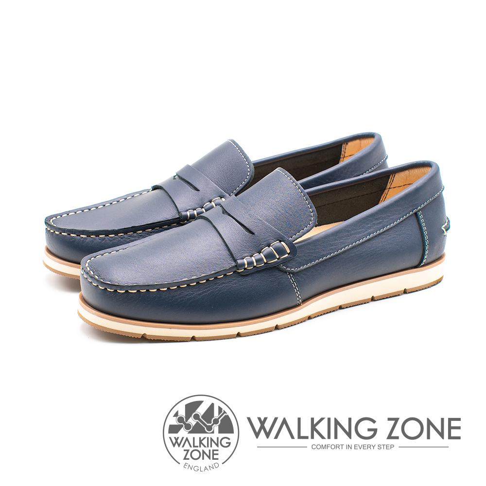 WALKING ZONE(男)素面英倫雅痞風樂福鞋-藍(另有棕)