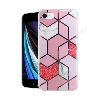 VXTRA 燙金拼接 iPhone SE 2020/SE2 大理石幾何手機殼 保護殼(星砂粉)