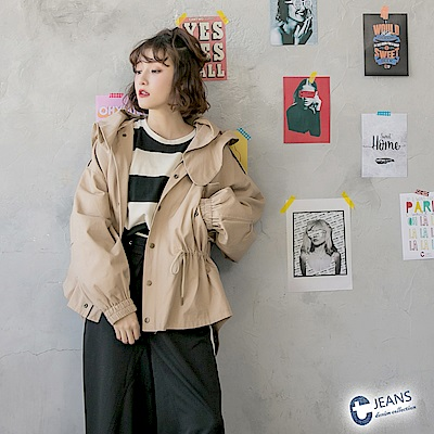 CANTWO JEANS斜紋連帽抽繩風衣外套