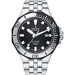 EDOX Delfin 水上冠軍專業300 防水機械錶-黑/43mm