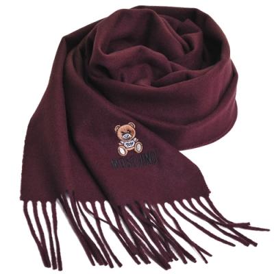 MOSCHINO 義大利製美麗諾羊毛小熊圖騰字母LOGO刺繡圍巾(酒紅色)