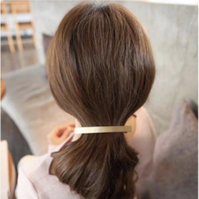 【89 zone】法式古典歐美簡約一字彈簧夾髮夾 1 入 (金色)