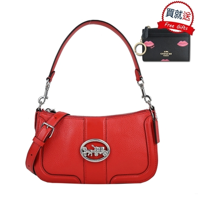 COACH 橢圓logo皮革手提/斜背馬鞍兩用包(紅)+零錢包(黑)