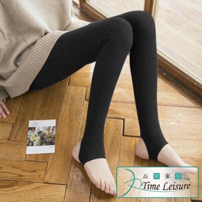 Time Leisure 棉質不起球400丹秋冬保暖修身踩腳褲襪 黑