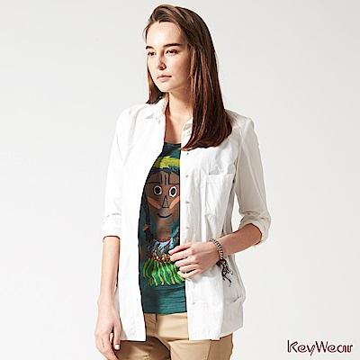 KeyWear奇威名品    100%純棉時尚商務長袖襯衫-白色