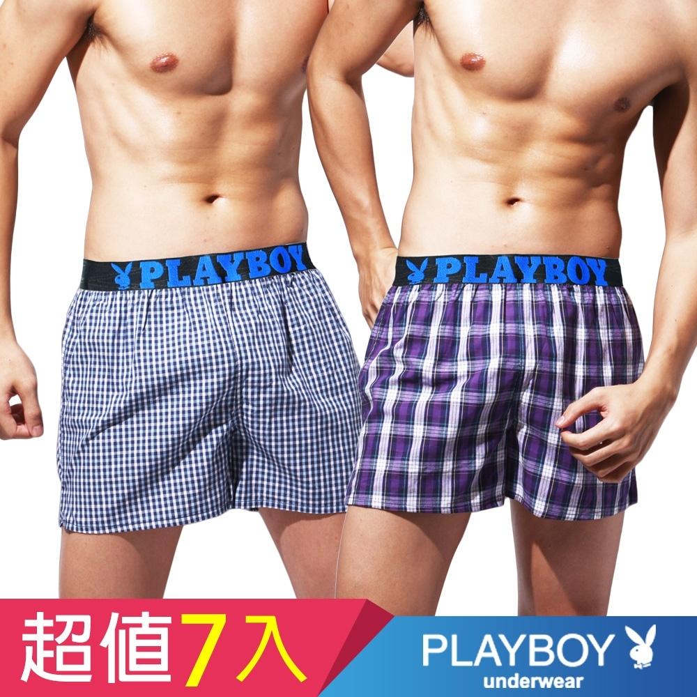 [時時樂限定]PLAYBOY_LOGO織帶格紋四角褲(7件組)