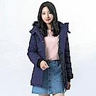 Victoria 撞色設計長版絲棉連帽外套-女-黑藍