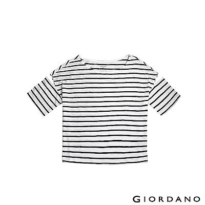 GIORDANO  女裝素色寬版挖肩T恤-82 皎雪X標誌黑