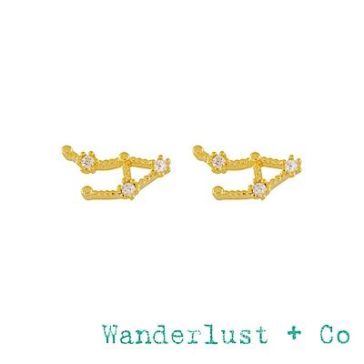 Wanderlust+Co 澳洲品牌 天秤座耳環 金色鑲鑽耳環 LIBRA