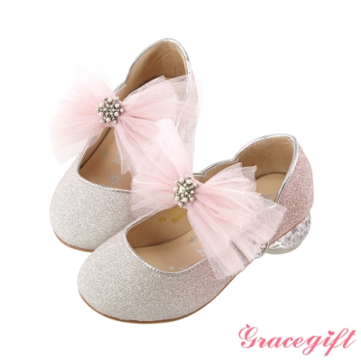 Disney collection by gracegift冰雪奇緣蝴蝶結童鞋 粉